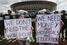 Акция протеста у стадиона Mane Garrincha в Бразилиа