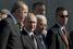 Самым высокопоставленным зарубежным гостем церемонии стал президент Турции Реджеп Тайип Эрдоган (слева). Владимир Путин (в центре) лично приветствовал в Москве его и лидера Палестинской автономии Махмуда Аббаса (третий слева)