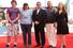 Актер Петр Балабанов, режиссер Алексей Балабанов, актеры Александр Мосин, Юрий Матвеев и Алиса Шитикова перед показом фильма