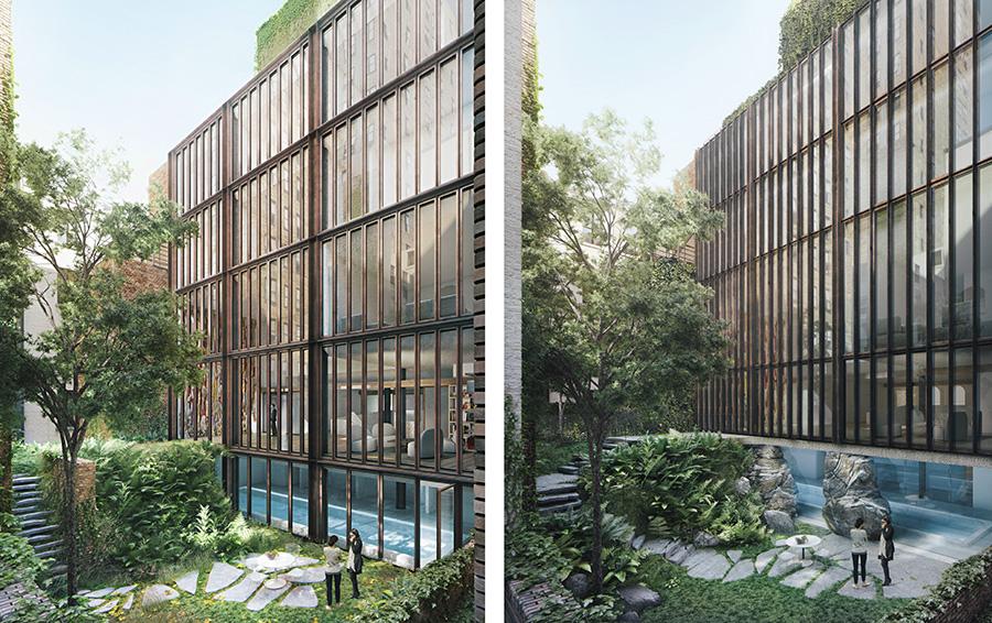 Внутренний двор дома по ландшафту должен напоминать Центральный парк Нью-Йорка