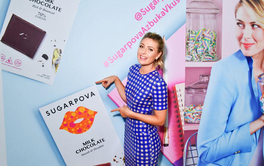 Февраль-2017: Шарапова презентует шоколад Sugarpova в Москве