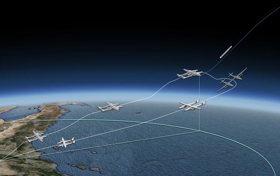 Схема полета авиационно-космической системы Stratolaunch