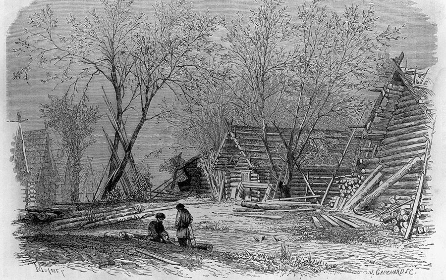 Деревня на Волге, 1867
