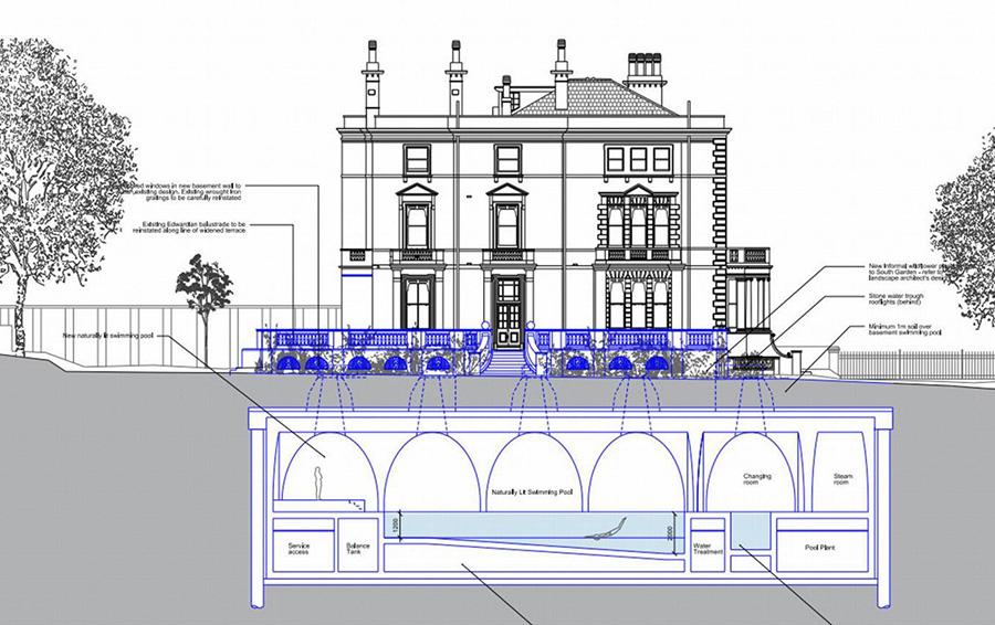 Будущая плавательная зона особняка на Кенсингтон-Палас Гарденс будет оформлена в стиле викторианской канализационной системы.