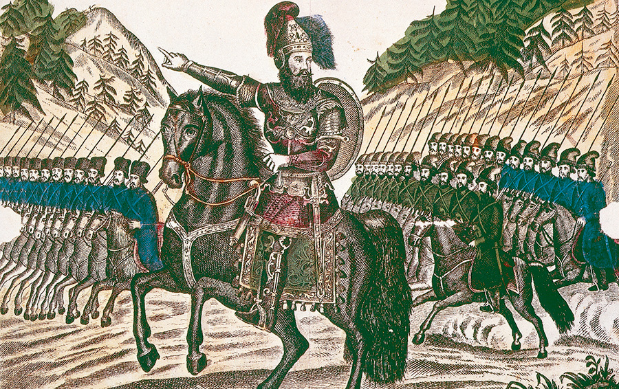 Казачий атаман Ермак во главе своего войска