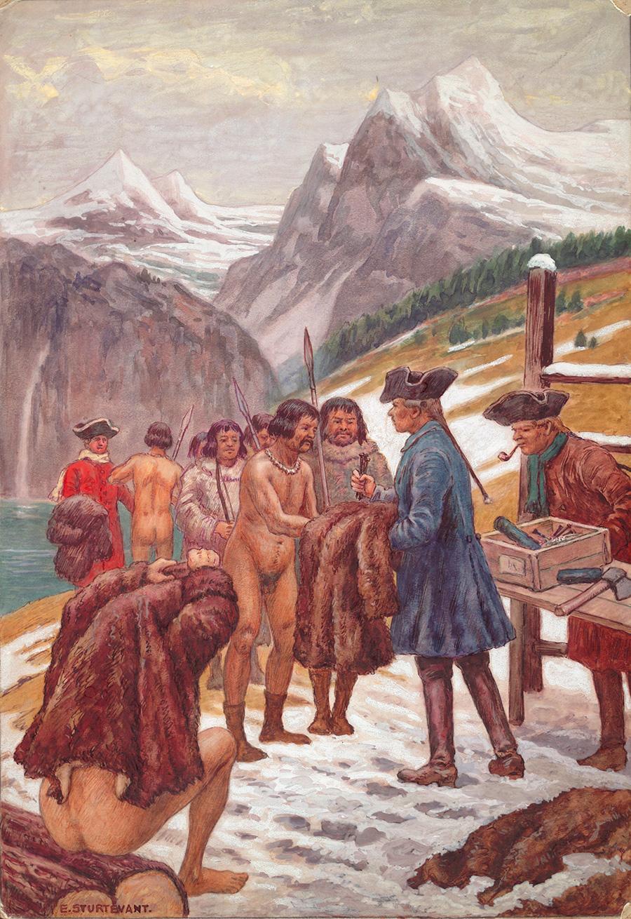 Обитатели Аляски обменивают шкуры на гвозди. Картина Эриха Штурвента. 1921