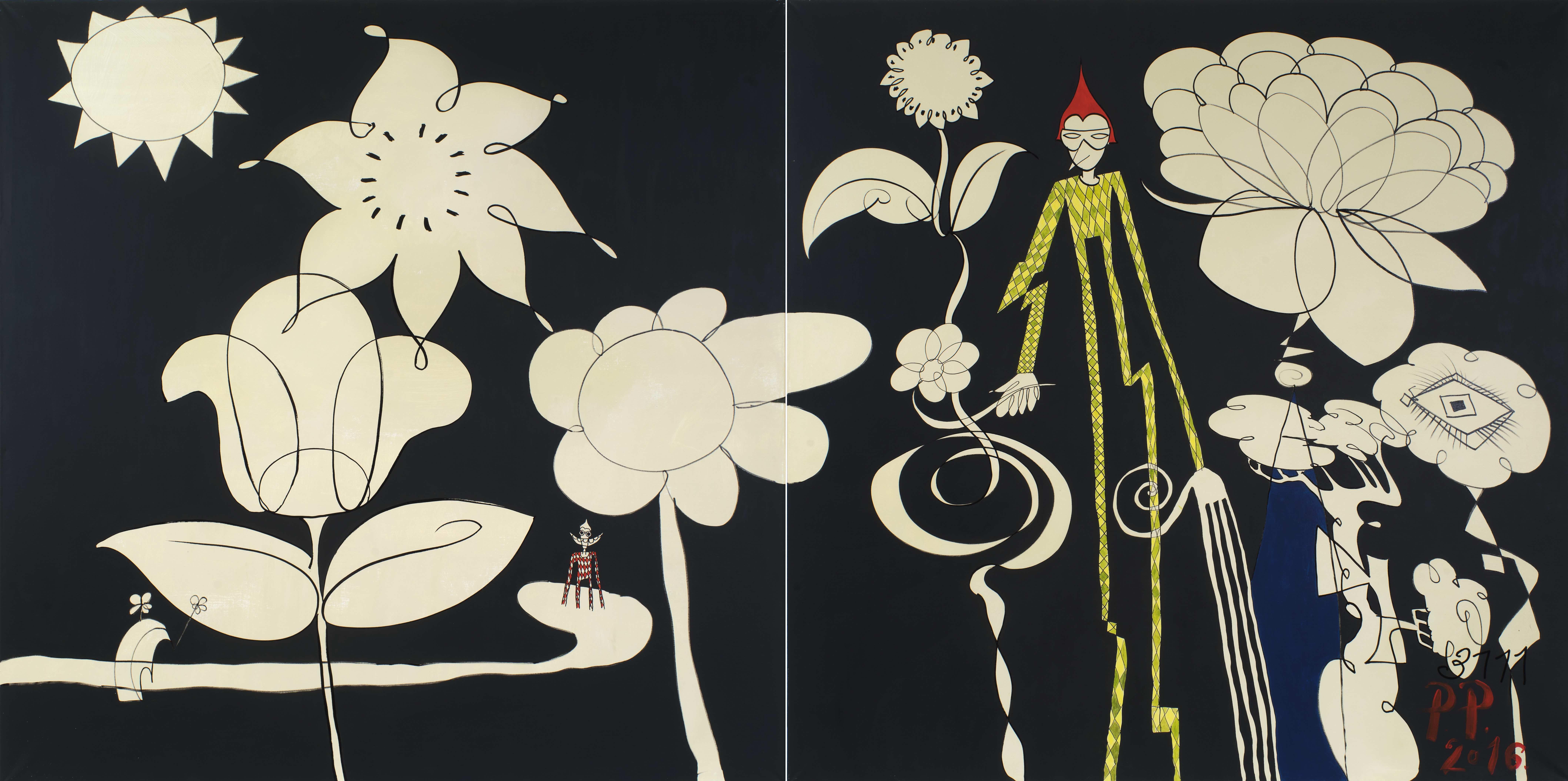 Павел Пепперштейн. Арелкин в саду Эдема. Диптих. Из серии «Возращение Пабло Пикассо в 3111 году»