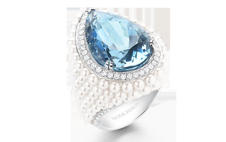 Кольцо Baïkal, белое золото, аквамарин, жемчуг, бриллианты, высокая ювелирная коллекция Hiver Impérial, Boucheron