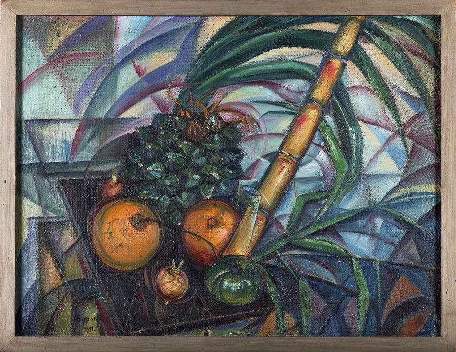 Давид Бурлюк, «Натюрморт с ананасом», 1921.