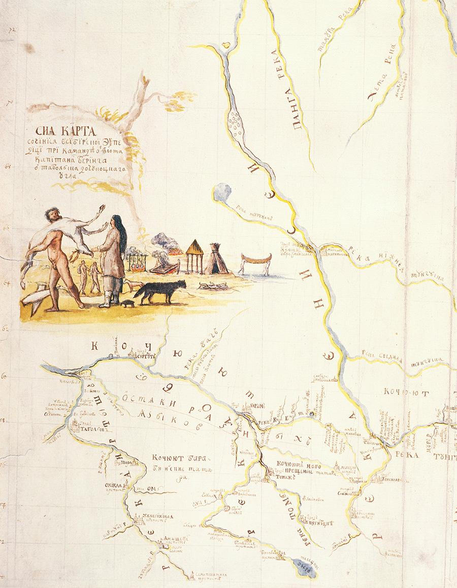 Карта Камчатки, нарисованная во время экспедиции датского исследователя Витуса Беринга (1681-1741)