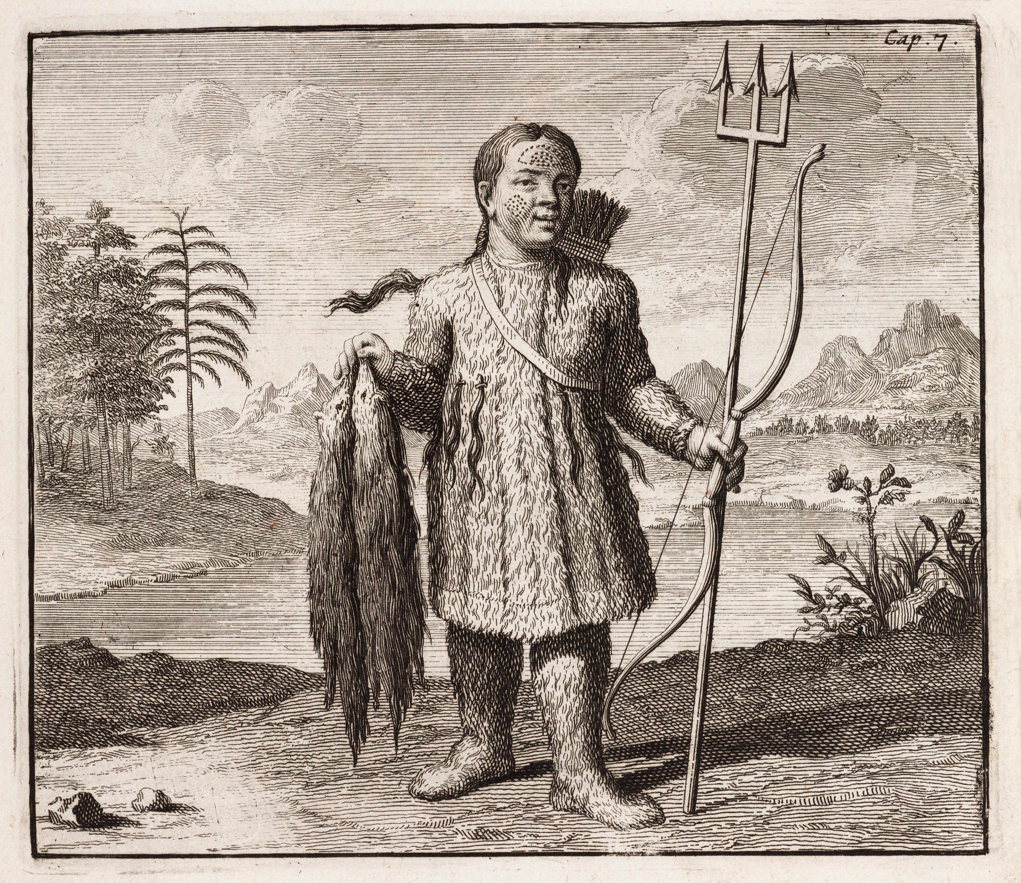 Туземец-охотник из Сибири. Иллюстрация из книги датского путешественника Эверта Избранта Идеса,  опубликованной в 1706 году