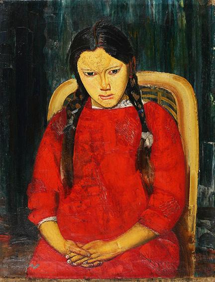 Борис Григорьев, «Девушка в красном», конец 1920-х.