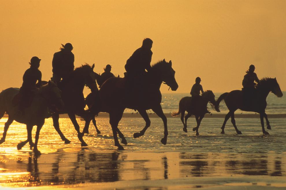 Конные прогулки по побережью Ла-Манша во время отлива — традиция в Довиле