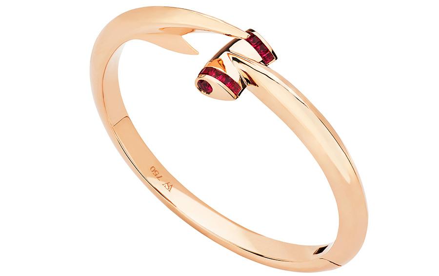 Браслет из коллекции Jewels Verne Hammerbead, розовое золото с рубинами