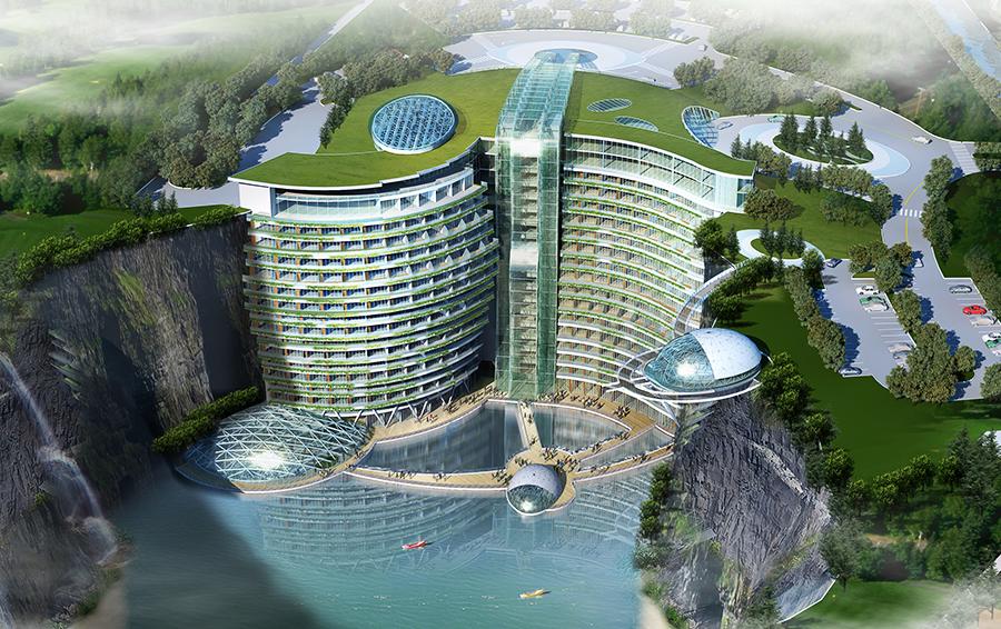 Вертикальный атриум изображает водопад, струящийся по стенам здания