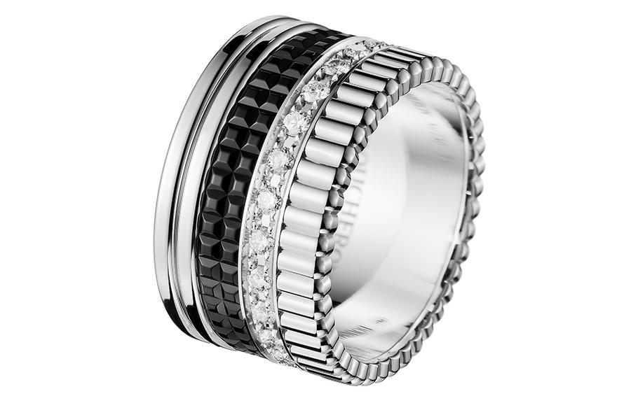 Кольцо Quatre Black Edition, белое золото, бриллианты