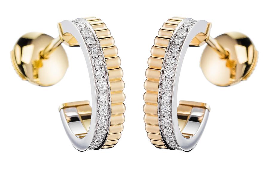 Серьги Quatre Radiant, желтое и белое золото, бриллианты