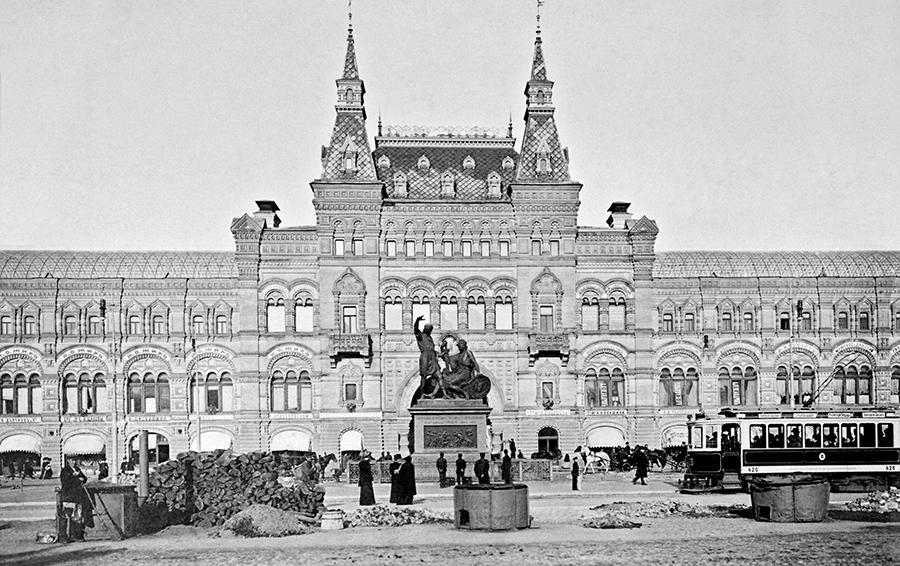 Торговый ряды на Красной площади. Москва 1909