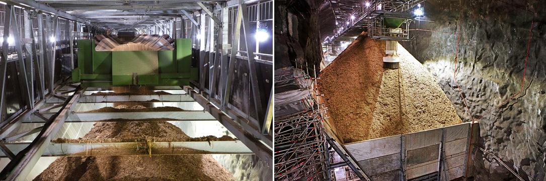 Подземный тоннель разделен на секции: конвейер с топливом, коридор для погрузчиков иаварийный выход.