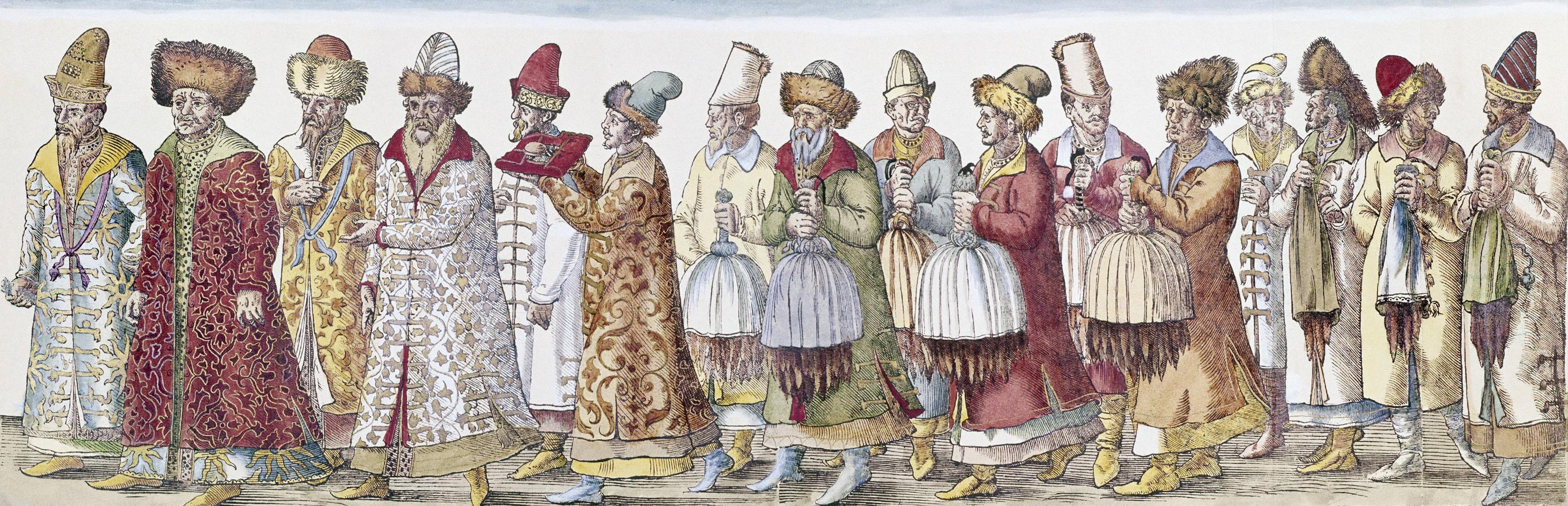 Российские послы несут шкуры в дар императору Священной Римской империи Максимилиану II от Ивана IV