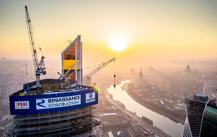 Строительство башни в Москве-Сити