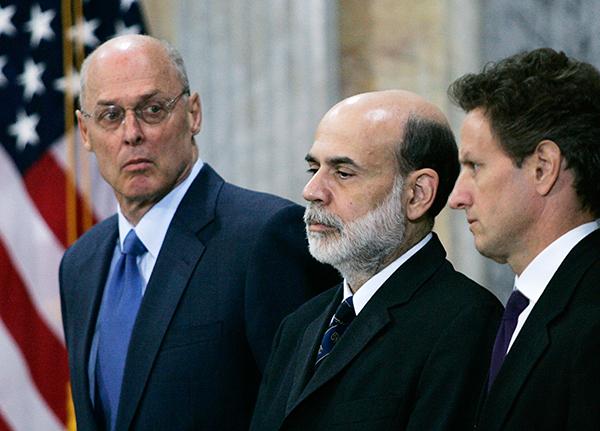 Генри Полсон, Бен Бернакке и Тимоти Гайтнер селали все, чтобы спасти банкиров за счет средств налогоплательщиков