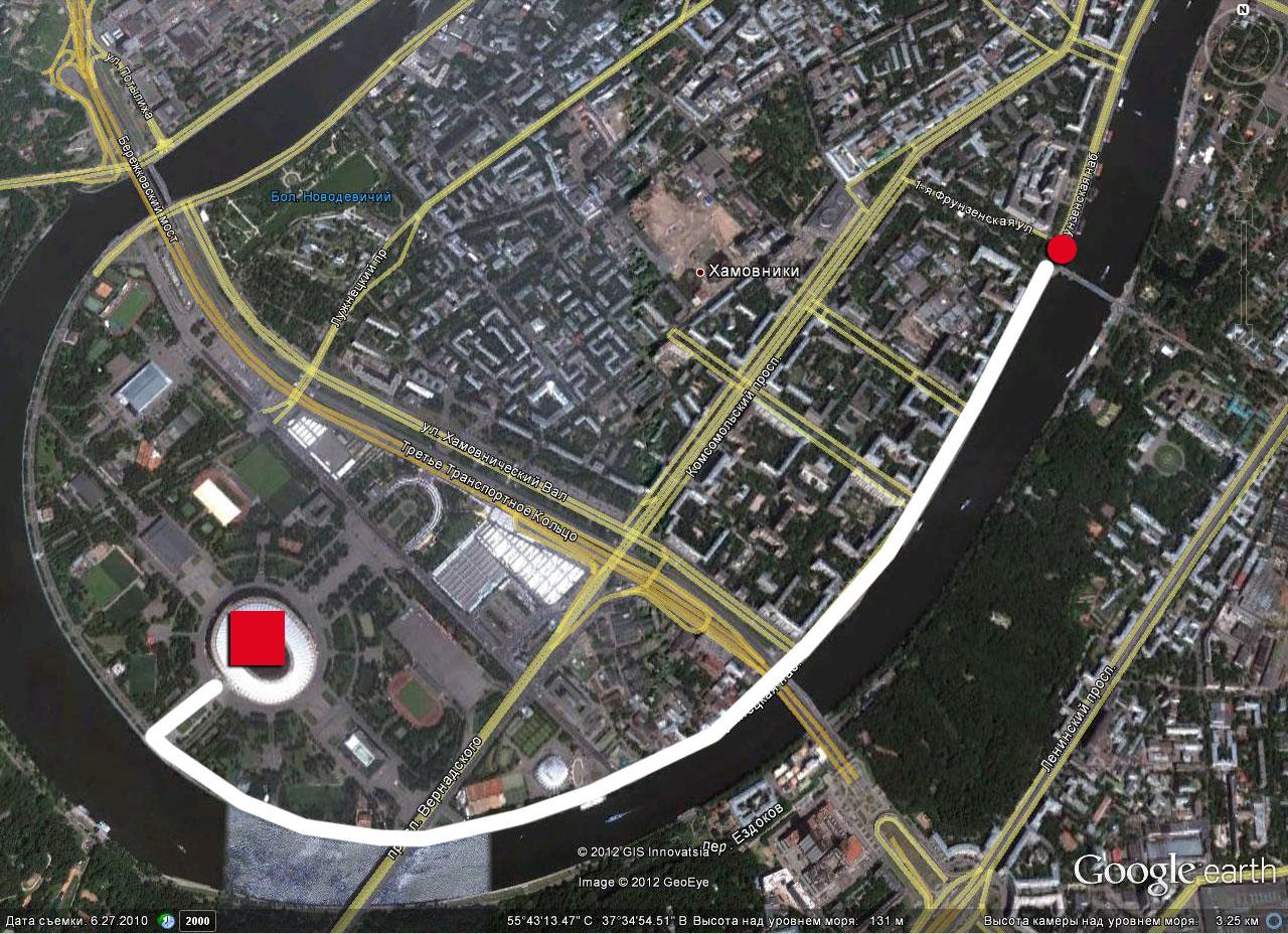 Вариант маршрута по версии мэрии Москвы