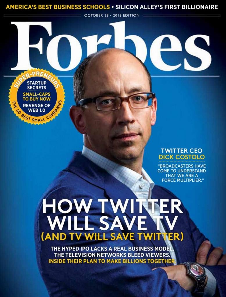 Гендиректор Twitter Дик Костоло пока не спас телевидение, но уже попал на обложку американского Forbes