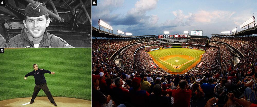 1. Джордж Буш-младший во время службы в авиации Национальной гвардии. 2. После сентябрьского теракта 2011 года Буш, уже президент, сам вышел на бейсбольное поле и ввел мяч в игру, чтобы показать: жизнь продолжается. 3. Бейсбольный стадион в Арлингтоне.