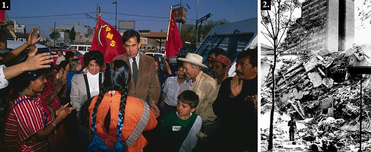 1. Каутемок Карденас занял второе место по значению в мексиканской политической иерархии пост мэра Мехико, опираясь на избирателей.  2. Катастрофические последствия землятрясения в Мехико 19 сентября 1985 года.