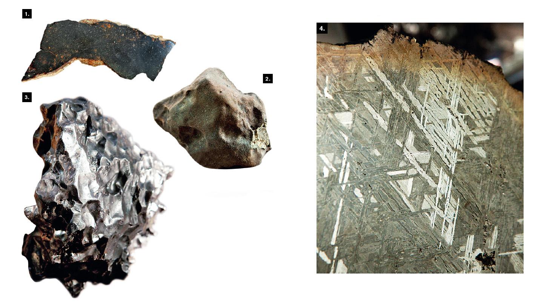 1. Обломок каменного метеорита Губара, обнаруженного в 1954 году в Омане. 2. Фрагмент знаменитого челябинского метеорита. По оценкам ученых, подобные падения случаются в среднем раз в 100 лет. 3. Остаток метеорита Сихотэ-Алинь, упавшего в 1947 году в Приморском крае. Метеорит, весивший свыше 30 т, начал распадаться еще в воздухе, и его осколки рассыпались на территории около 20 кв. км. 4. Срез метеорита Сеймчан. Такая решетка образовалась в процессе остывания на градус за миллион лет ядра астероида, породившего метеорит