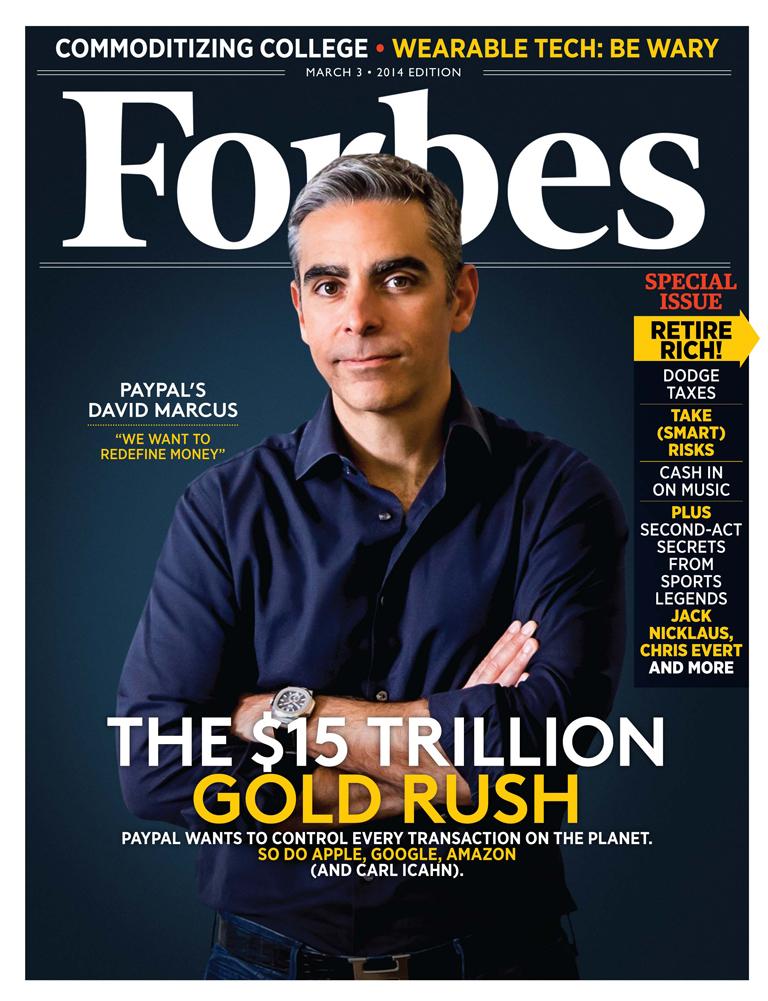 Президент PayPal Дэвид Маркус на обложке американского Forbes