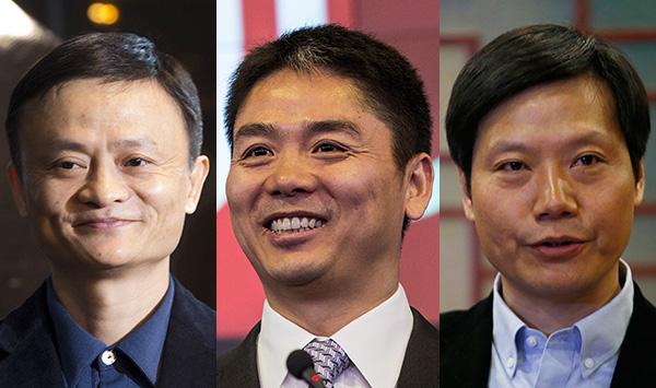 Звезды китайского интернет-бизнеса, за головами которых удачно поохотился Юрий Мильнер: основатель Alibaba Джек Ма, основатель JingDong Ричард Лю и основатель Xiaomi Лей Джун (слева направо)