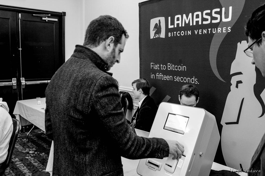 Bitcoin-банкомат от компании Lamass на конференции Liberty Forum в Нью-Гемпшире, февраль 2014 года