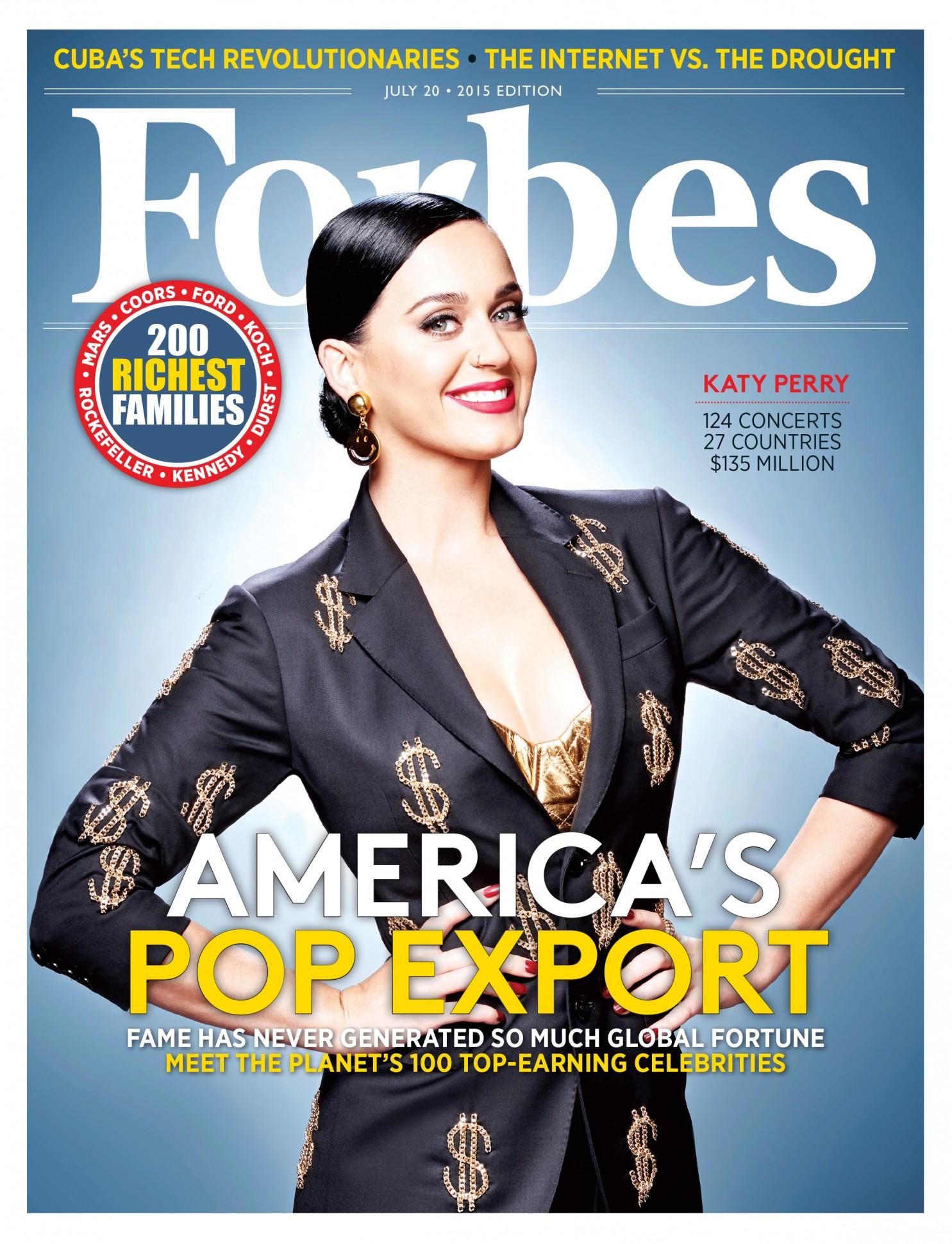 Кэти Перри на обложке американского Forbes, июль 2015 года
