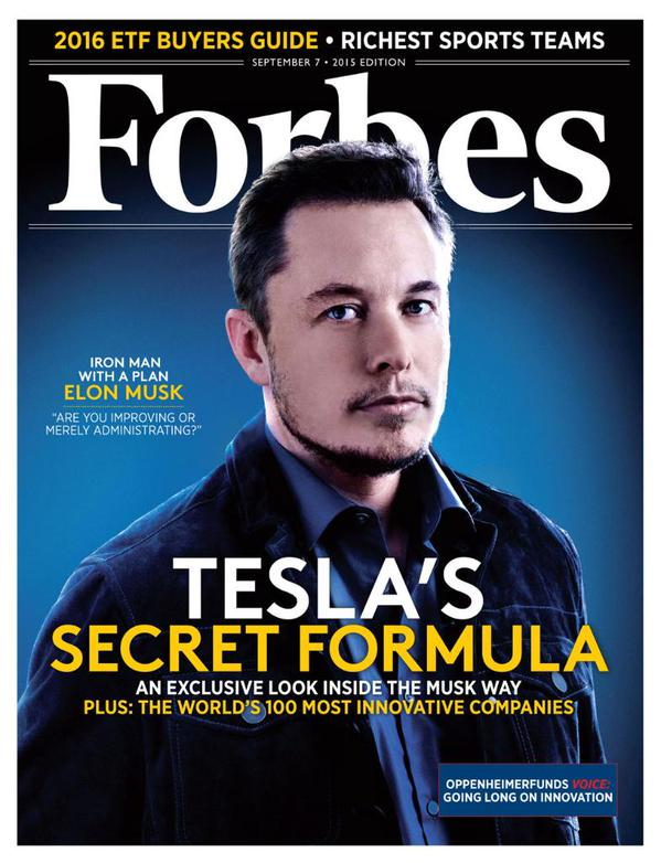Илон Маск на обложке сентябрьского номера американского Forbes