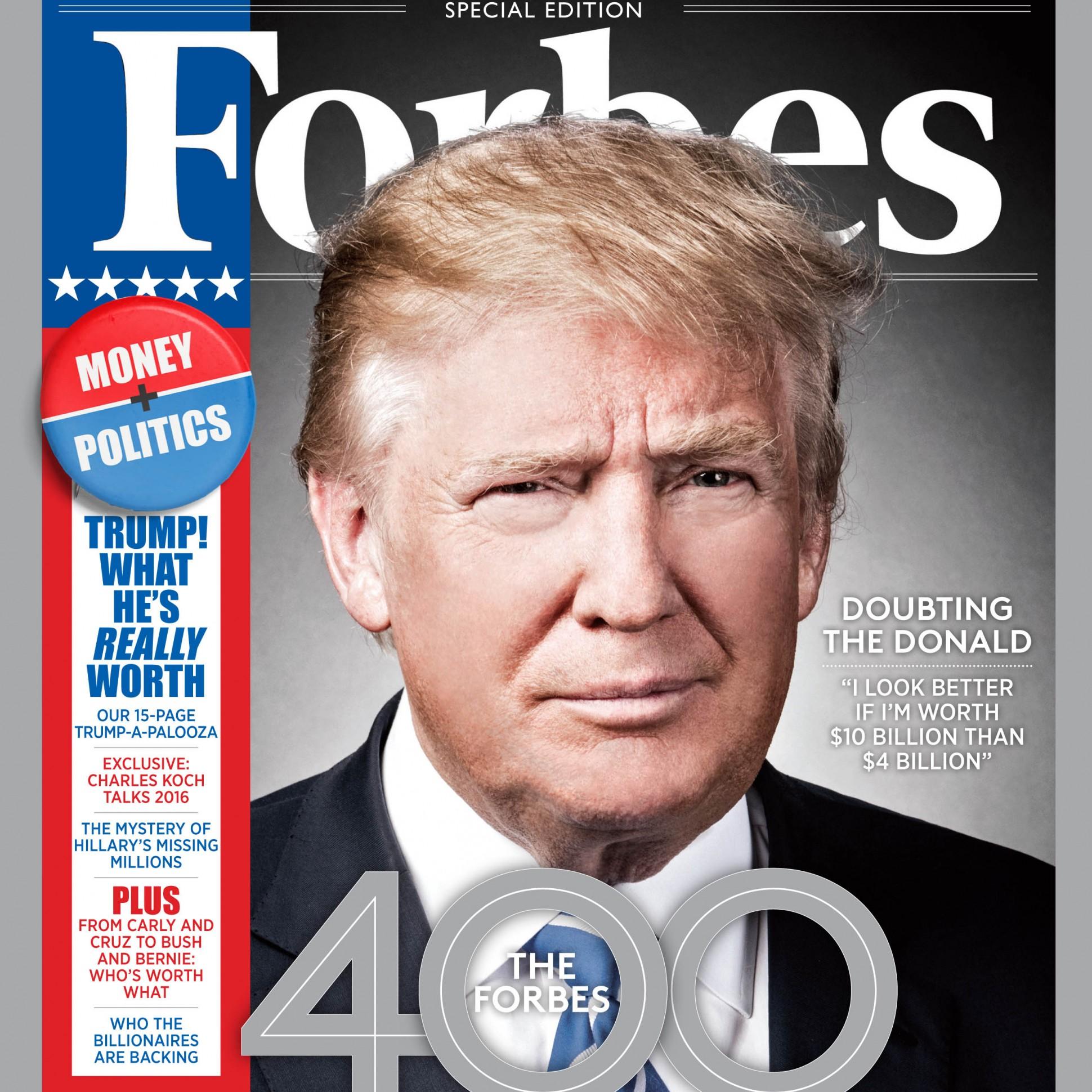 Дональд Трамп на обложке сентябрьского номера Forbes USA