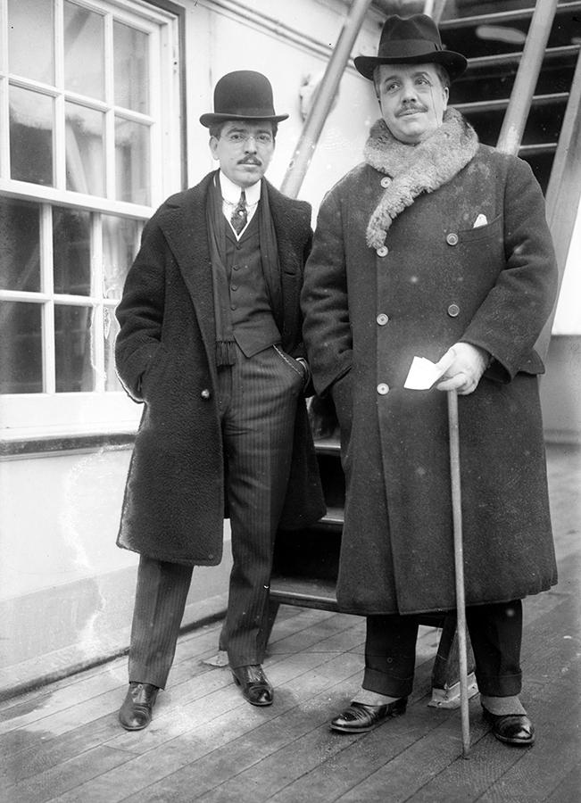 Джон Браун, финансовый контроллер Метрополитен-оперы (слева), и Сергей Дягилев в Нью-Йорке. Январь 1911 года