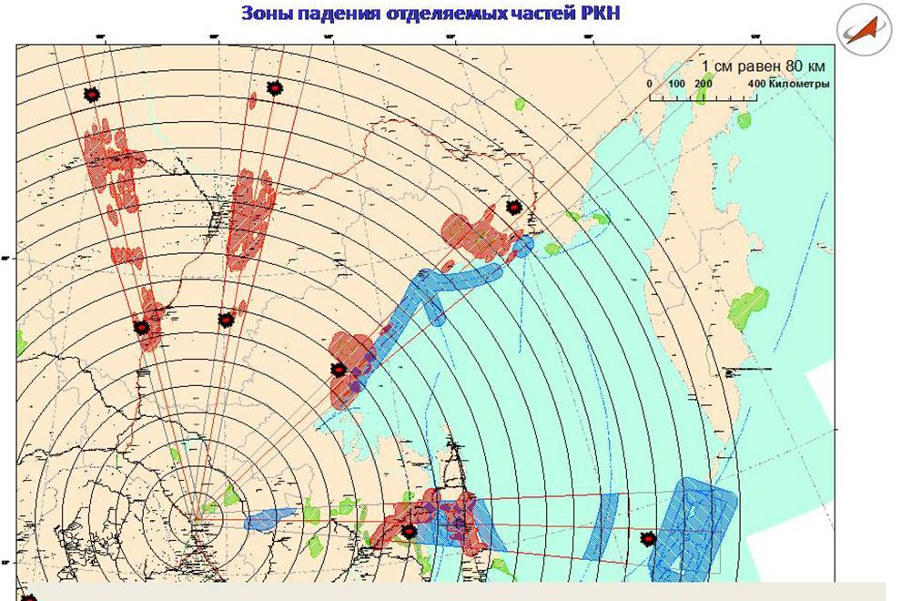 Зоны падения отделяемых частей РН при запуске с космодрома Восточный