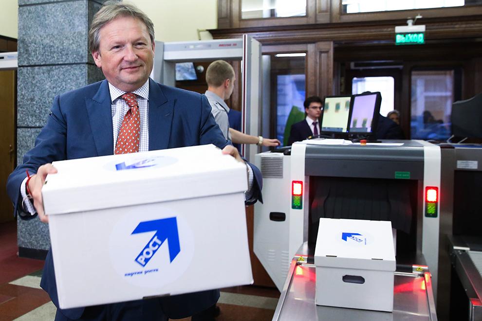 Борис Титов перед подачей документов в ЦИК