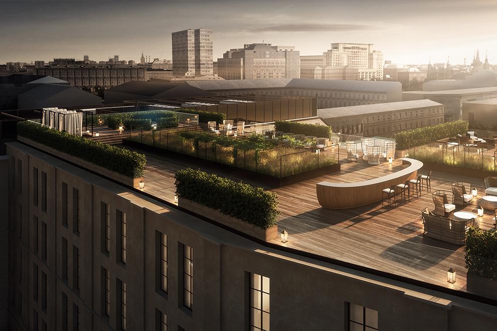 Терраса на крыше Bulgari Hotel