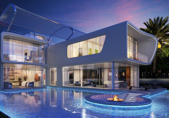 Роскошный дом в  Дубае с местом для Bugatti в гостиной.