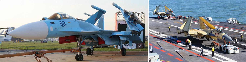 Российский палубный истребитель Су-33 (Су-27К) в экспозиции Московского авиасалона МАКС-2007 и китайский палубный истребитель J-15, который является основой авиагруппы авианосца «Ляонин». По китайским данным, J-15 превосходит аналогичный российский Су-33 по многим характеристикам, не являясь его копией. Отметим, что Су-33 в Китай не поставлялся.