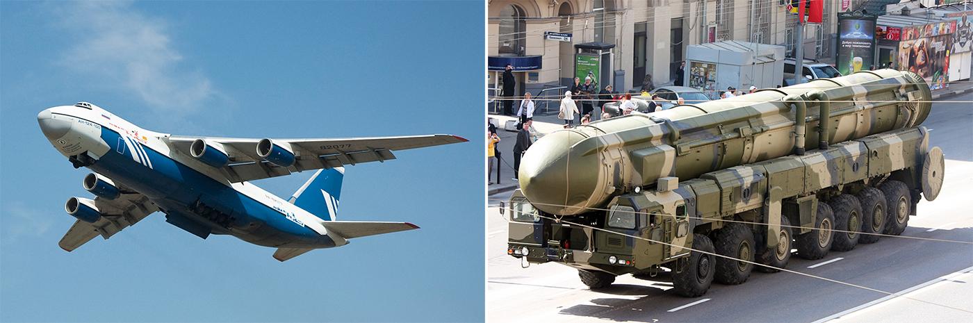 Военно-транспортный самолет Ан-124 «Руслан» и ГГрунтовой подвижный ракетный комплекс РТ-2ПМ «Тополь».