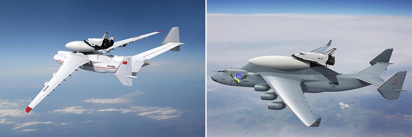 Авиационно-космическая система 9А-10485/МАКС (вариант 1990-х годов) в полете (на иллюстрации слева). Авиационно-космическая система 9А-10485/МАКС с последним вариантом орбитального самолета в полете (на иллюстрации справа).