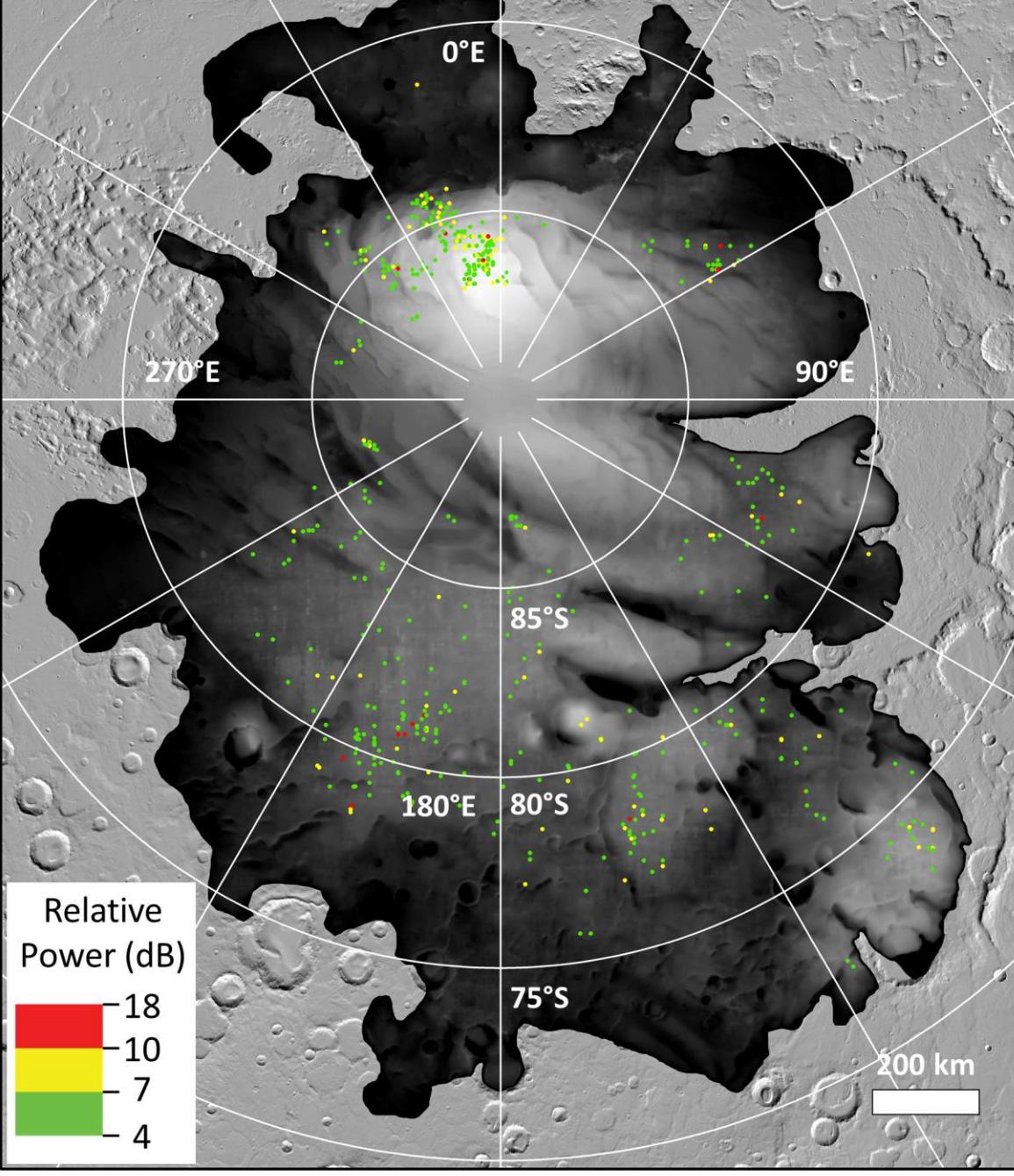 Цветные точки представляют собой места, где орбитальный аппарат Mars Express ЕКА заметил яркие радарные отражения