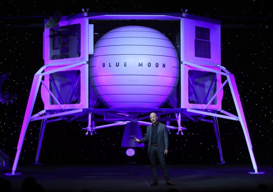 Джефф Безос, представляет новый лунный посадочный модуль Blue Moon, 2019 год