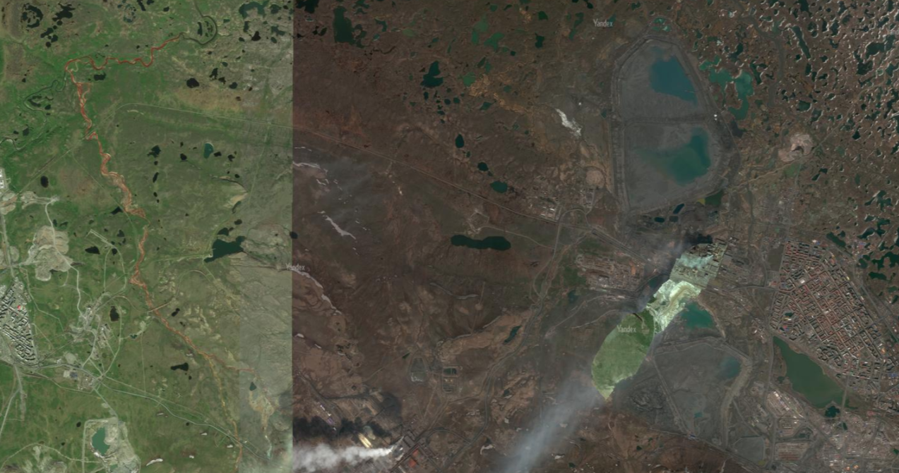 Красные реки слева — Далдыкан и Амабарная, внизу — дымящие трубы Надеждинского завода, справа — город Норильск и расположенное к северу хвостохранилище Лебяжье.