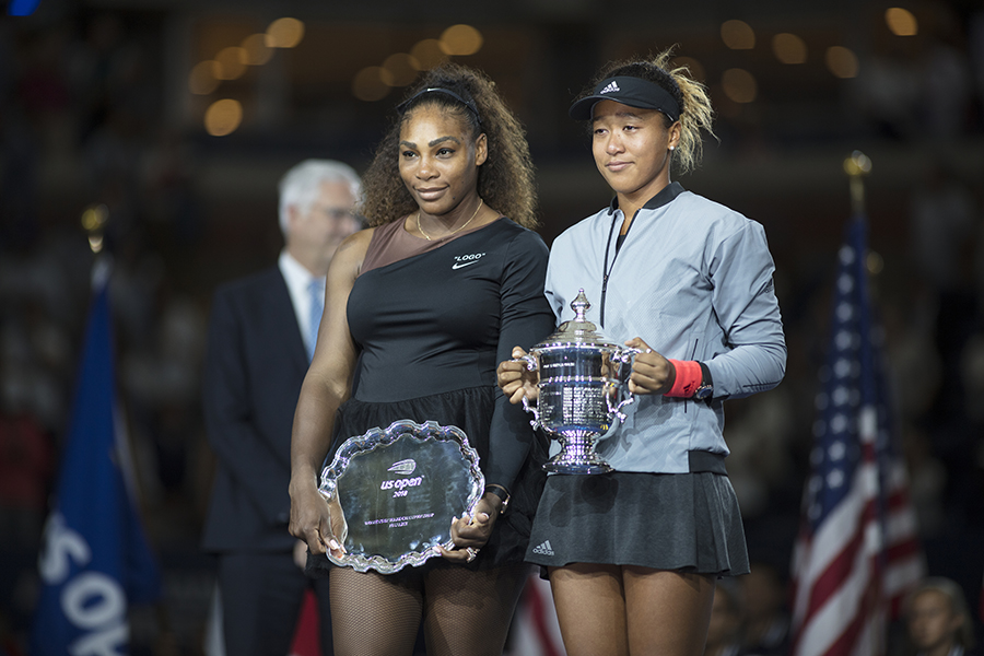 Naomi Osaka celebrates her win over Serena Williams at the 2018 U.S. Open, which jump-started her career as the most marketable female athlete on the planet ( Tim Clayton / Corbis via Getty Images )