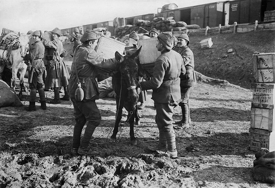 Первая мировая война. Доставка грузов Антанты в Месопотамию: сначала поезд, далее на мулах ( Getty Images )